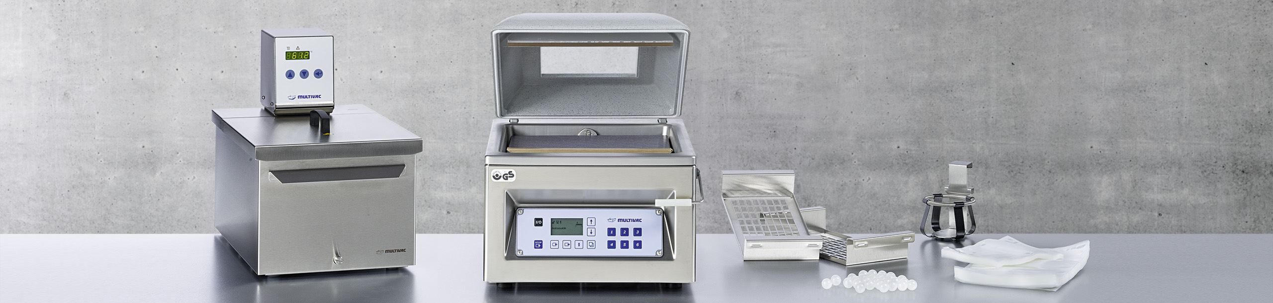 MULTIVAC sous vide products: vacuum chamber machines,  water bath with thermostat, pouches and accessories